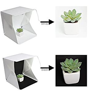 Xjamus Portable Mini Light Box Kit,Folding Photo Studio Lightbox Photography Shooting Tent Kit with LED Lights and Two Background