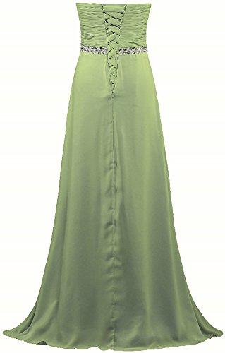 Fourmis Perle Sans Bretelles De Femmes Empire Robe Longue Robe De Bal En Mousseline De Soie De Citron Vert