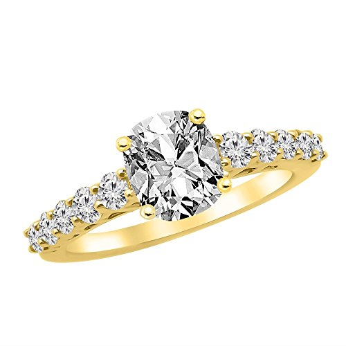 14K Yellow Gold 2.15 CTW Graduating Classic Diamond Engagement Ring w/ 1.5 Ct GIA Certified Cushion Cut E Color VVS2 Clarity Center