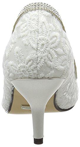 Quiz Peep Lace Femme Ouvert Diamante White Bout A N Toe Blanc Court qrErw6