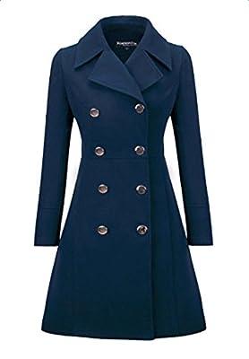 BubbleKiss Women Wear to Work Lapel Double Breasted Classic Woolen Coat