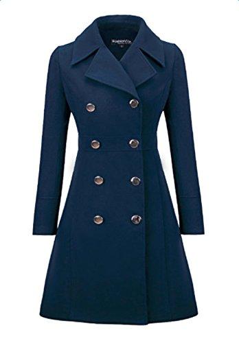 BubbleKiss Women Wear to Work Lapel Double Breasted Classic Woolen Coat End Season Sale