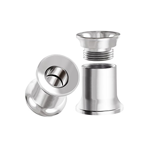 BIG GAUGES Pair of Internal Screw Surgical Steel 4g Gauge 5mm Double Flared Piercing Jewelry Stretcher Ear Ring Lobe Tunnel Plug BG0001
