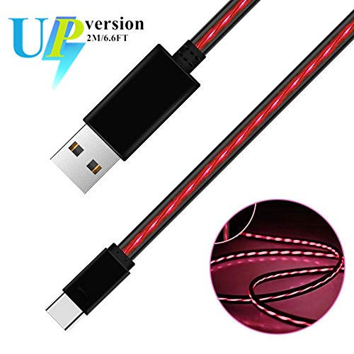 iCrius 6ft Visible Flowing LED Light Type C Cable Fast Charging USB 3.0 to C Charger Cord for Samsung Galaxy S10 S9 Note 9 8 S8 Plus, LG V30 V20 G6 G5, Google Pixel, Nintendo Switch, MacBook (Red)