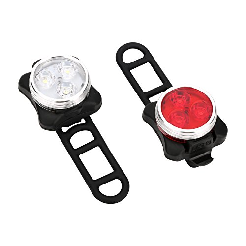 USB Rechargeable Bike Light Set - Bike Lights Front and Back 4 Light Modes Water Resistant LED Bicycle Headlight and Taillight Quick-Release ,Retail Packaging 2 USB Cables and 4 Straps Included