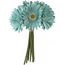 Aqua Blue Daisy Bouquet - Artificial Silk Bridal Wedding Bridesmaid