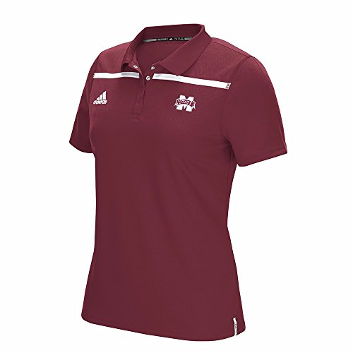 adidas Mississippi State Bulldogs NCAA Maroon Sideline Climacool Performance Primary Logo Polo T-Shirt For Women (L) (Adidas Shirt Sideline Polo)