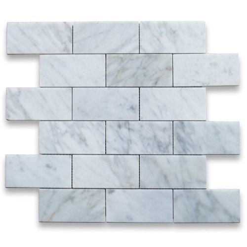 Column Marble Italian - Carrara White Italian Carrera Marble Subway Brick Mosaic Tile 2 x 4 Polished by Stone Center Online