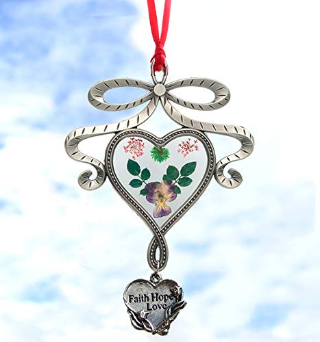 Faith Hope Love New Bow Knot Heart Suncatchers Glass Wind Chime Pressed Flower Wings Embedded in Glass with Metal Trim Heart Charm Gifts for Sister Friend Nurse Brother Sister for Birthdays Christmas - Flowers Stained Glass Wind Chimes