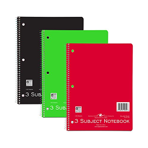 "Roaring Spring Wirebound Notebook, Three Subject, 10.5"" x 8"", 120 sheets, College Ruled, Assorted Color Covers, 3/pack, sold by the pack"