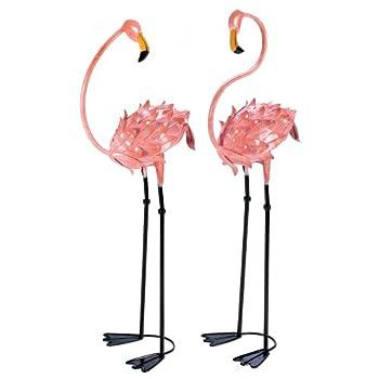 Garden Decor Statues, Metal Pink Flamingo Yard Decorations Statues (1 Pair)
