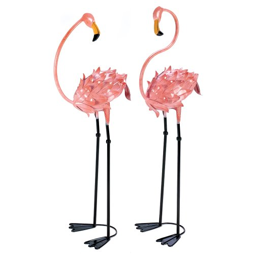 Garden Decor Statues, Metal Pink Flamingo Yard Decorations Statues (1 Pair)