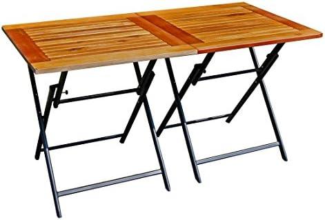 2 x Plegable superficie total 140 x 70 Terraza mesa mesa de madera ...