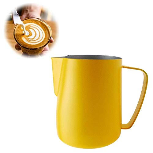 Milk Jug 0.3-0.6L Stainless Steel Frothing Pitcher Pull Flower Cup Coffee Milk Frother Latte Art Milk Foam Tool Coffeware, Capacity:350ml Premium Quality (Color : Yellow) by XIAOMIN