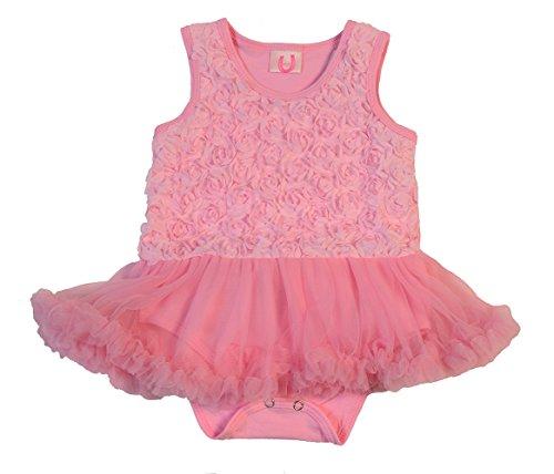 Rosebud Onesie - Max Daniel Designs Maxine Pretty Pink Baby Girl Rosebud Onesie Bodysuit With Tutu Romper Dress (Medium)