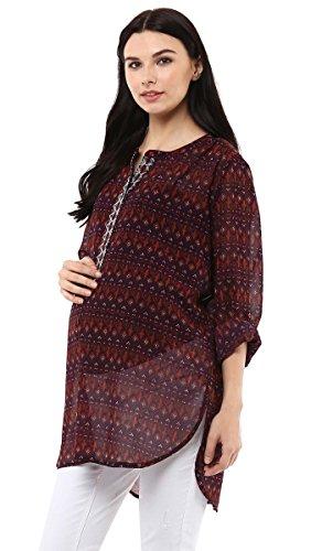 Wobbly Walkde las mujeres ciruelo de la gasa Impreso superior de la maternidad de la túnica de cuello redondo de enfermería ciruela
