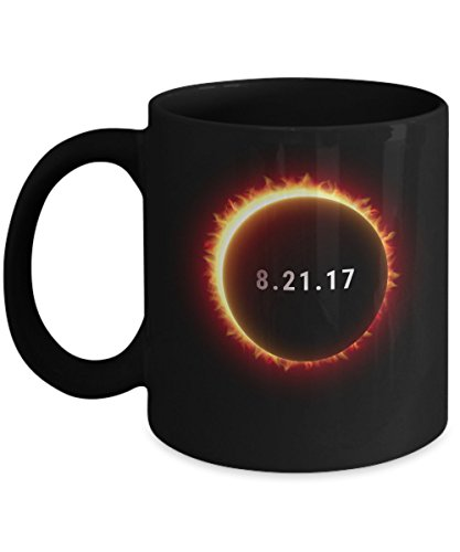 Solar Eclipse Coffee Mug - Cool 11oz Black Ceramic Tea Cup. August 21 2017 Total Eclipse Souvenir USA Eclipse. Science & Astronomy Astrology Gifts. Set of 1. by Novelty & Gag Gifts