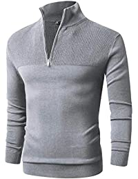 f7f3191150af Mens Slim Fit Zip Up Mock Neck Polo Sweater Casual Long Sleeve Sweater and Pullover  Sweaters