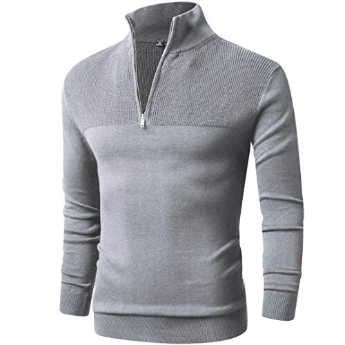 LTIFONE Mens Slim Fit Zip Up Mock Neck Polo Sweater Casual Long Sleeve Sweater and Pullover Sweaters with Ribbing Edge(Grey,M