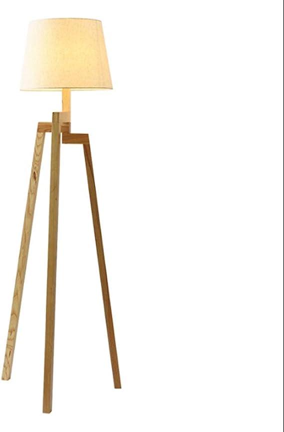 PAMZ Lampara pie Trípode LED, Moderno Lámparas de pie Madera E27, Pantalla de Tela, Protección para los Ojos, Luz de Piso para IluminacióN Dormitorio 10W Luz Cálida: Amazon.es: Iluminación