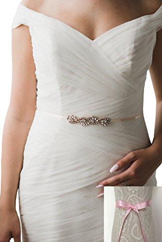 Style Rhinestone Belt (Rhinestones bridesmaids dresses sashes wave style formal dress belts (Pink))