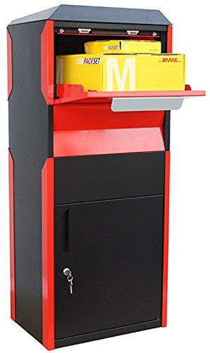 Neuer freistehender Paketkasten Briefkasten für Pakete in schwarz rot Paketbriefkasten aus pulverbeschichtetem Stahl. Paketeinwurf von vorne für große Pakete geeignet.