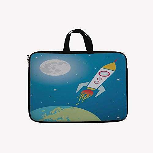 - 3D Printed Double Zipper Laptop Bag,Spaceship Shuttle Universe Travel Moon Stars,14 inch Canvas Waterproof Laptop Shoulder Bag Compatible with 14