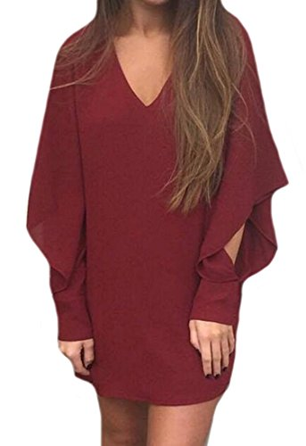 littler-store-womens-v-neck-blouses-solid-loose-cuffed-sleeve-shirt-top-wine-redus-l