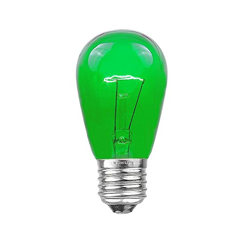 Novelty Lights 25 Pack S14 Outdoor Patio Edison Replacement Bulbs, E26 Medium Base, Green, 11 Watt