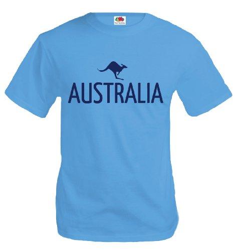 T-Shirt Australia-Kangaroo-L-Skyblue-Navy
