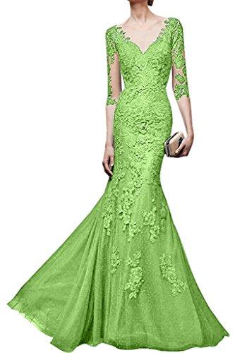 Hell Damen Langes Festlichkleider ausschnitt Orange Gruen Partykleider Abendkleider La V mia Etuikleider Spitze Braut STqxcHw1