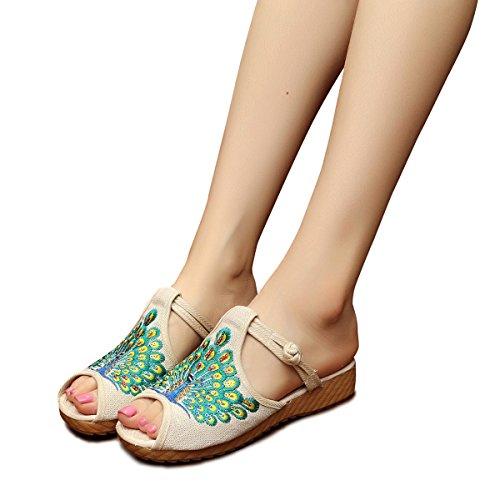 Veowalk Peacock Sequins Women's Canvas Platforms Slippers Peep Toe Comfort Flat Slide Sandal Shoes EU39 Beige ()