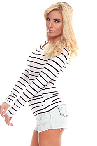 Young Aloud CASUAL COMFORTABLE LONG SLEEVE STRIPE TOP M white/black