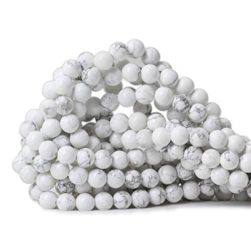 Howlite Natural Gemstone Beads - CHEAVIAN 8mm 45PCS Natural White Howlite Gemstone Round Loose Stone Beads for Jewelry Making DIY Crafts Design 1 Strand 15