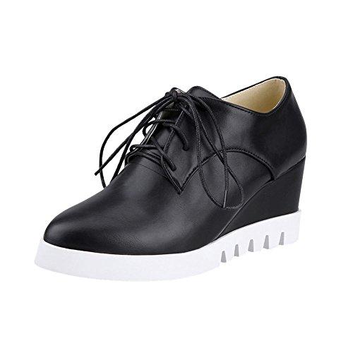 Latasa Womens Comfort Platform High Heel Lace Up Wedge Oxford Shoes Black QRTcW