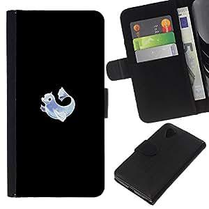 Protector de cuero de la PU de la cubierta del estilo de la carpeta del tirón BY RAYDREAMMM - LG Nexus 5 D820 D821 - Meter Monster Neon delfín