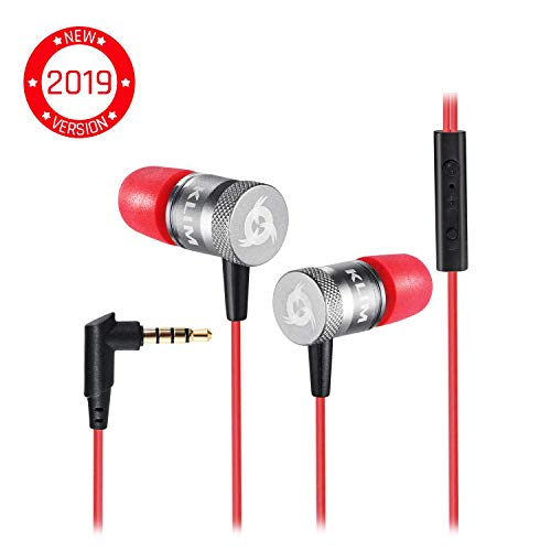 KLIM Fusion Earbuds with Mic Audio - Long-Lasting Wired Ear Buds + 5 Years Warranty - Innovative: in-Ear with Memory Foam Earphones with Microphone - 3.5mm Jack - New Earphone 2020 Version - Red
