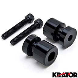 Krator Black Swingarm Spools Sliders 8mm for Honda Suzuki Ducati Kawasaki Motorcycles Black Swingarm Spools Sliders Motorcycle Bobbins