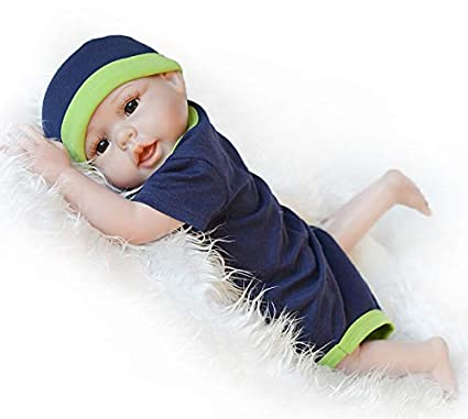 UCanaan Reborn Baby Dolls Silicone Full Body 20 Inch Handmade Lifelike Realistic Newborn Soft Vinyl Baby Doll Brown Eyes Boy