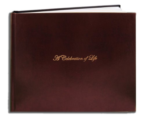 "BookFactory® Leather Funeral Guest Book ""A Celebration of Life"" / Memorial Book / Memorial Guest Book / Funeral Register Books - 48 Pages, Burgundy (Bonded Leather), 8 7/8"" x 7"", Smyth Sewn Hardbound (LOG-048-97CS-XM (FUNERAL-REG))"