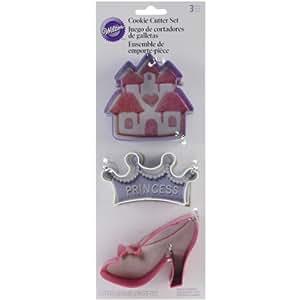 Wilton 2308-0915 - Set de cortadores para galletas, diseño de accesorios de princesa, 3 piezas
