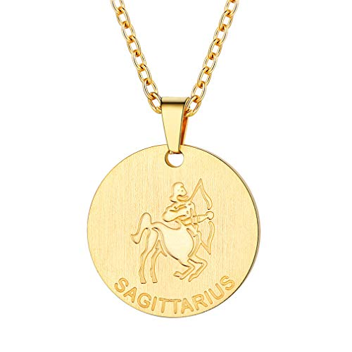 FaithHeart Customizable Astrology 12 Constellation Horoscope Necklace, 18K Gold Plated Sagittarius Zodiac Star Sign Coin Pendant Necklace Birthday Gifts Lucky Charms Layered Necklace (Gold)