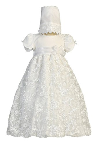 Baby Girl Embroidered Satin Ribbon Tulle Christening Dress with Bonnet ,M, Amber
