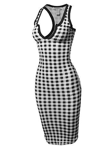 (Sexy Solid Split Neck line Front Bodycon Midi Dress Black)