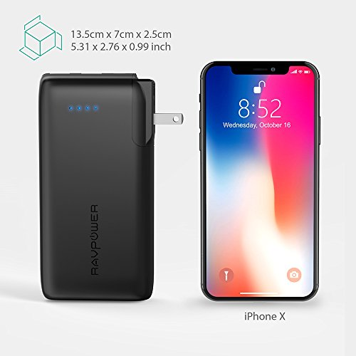 Portable Charger 10000 RAVPower 2-in-1 Wall Charger and Power Bank, 10000mAh Capacity with AC Plug, Dual iSmart 2.0 USB Ports, 3.4A Max Output for iPhone X, iPhone 8, iPad, Samsung Galaxy and More