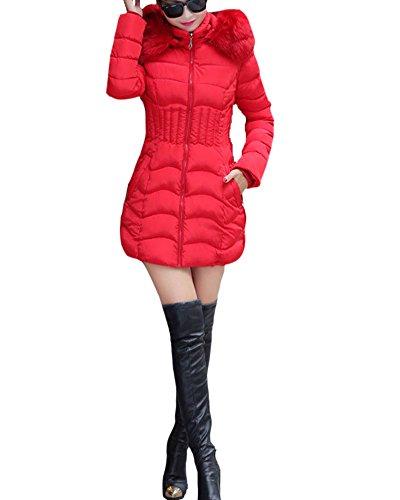 Manteau Capuche Fourrure SaiDeng Slim Veste Femme Fit Parka Rouge Hiver Blouson Longue Artificiel 1v1pzawqx