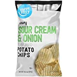 Amazon Brand - Happy Belly Wavy Sour Cream & Onion Flavored Potato Chips, 10.5 Ounce