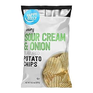 Amazon Brand - Happy Belly Wavy Sour Cream & Onion Flavored Potato Chips, 10.5 oz