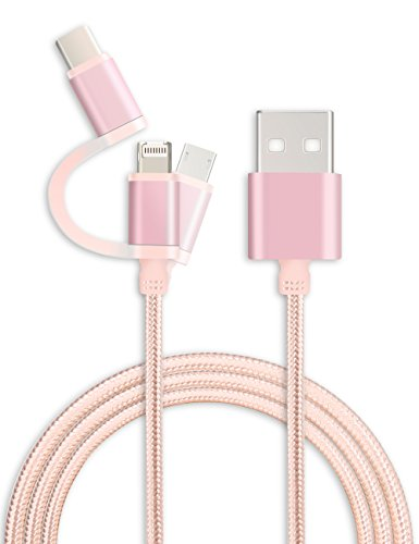 Type C Cable, Lightning / Micro USB Cable, TITACUTE 3 in 1 C