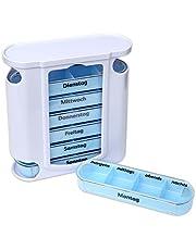 Schramm® tabletbox wit met blauwe schuivers 7 dagen pillen tabletten doos tablettendoos pillendoos pillendoos tabletdozen pillendoos pillendoos pillendoos pillendoos weekdosering